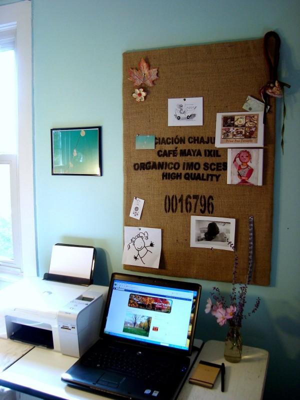 Burlap Sack Bulletin Board