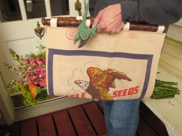 Make a flower trug from an old burlap sack!