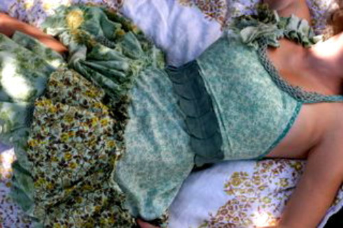 girl reconstructed  upcycling old clothes
