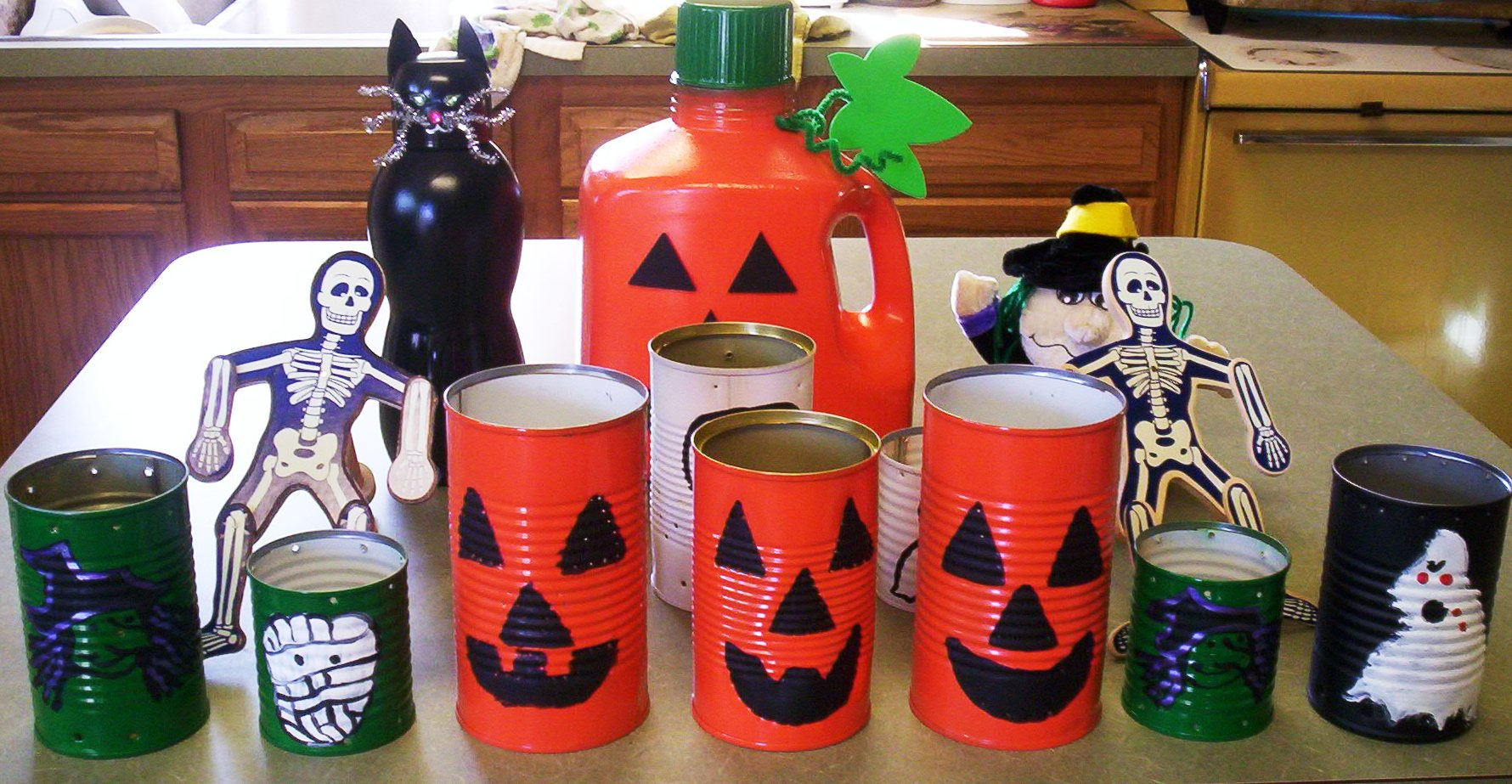 Get a head start on eco halloween crafts crafting a for Recycled materials for decoration