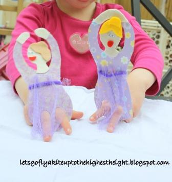 mesh produce bag finger puppets