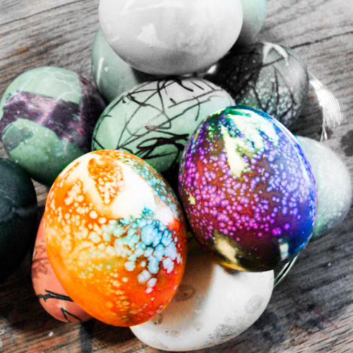 ... your stash fabric to make cool tie dyed Easter eggs with your kids