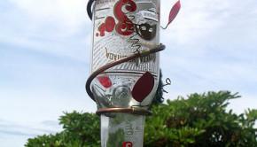 DIY hummingbird feeder from a glass bottle