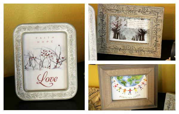 recycling christmas cards  framed art
