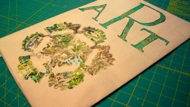 Newspaper Art on Brown Paper