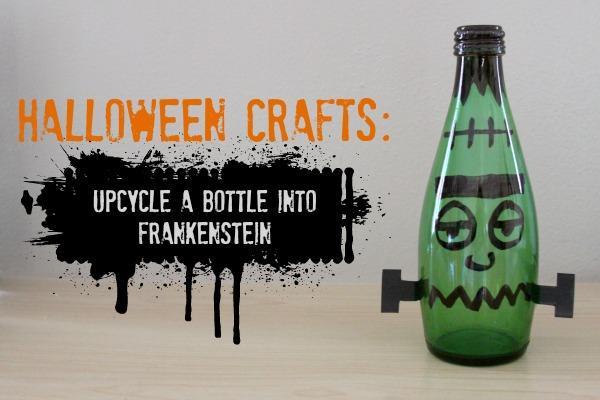 Halloween Crafts from Recycled Materials: DIY Halloween Decorations: Frankenstein Bottle