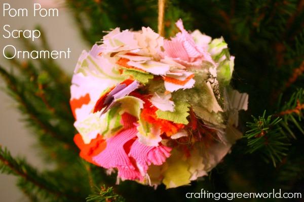 DIY Christmas Ornaments: Fabric Scrap Pom Pom