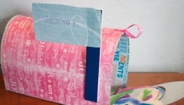 How-to: Recycled Cardboard Valentine Mailbox
