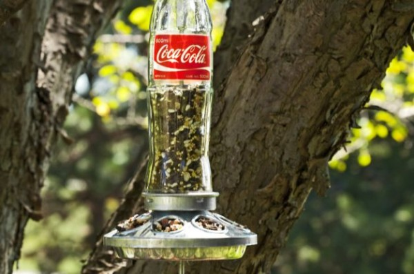 Spotted: DIY Bird Feeder from a Glass Soda Bottle