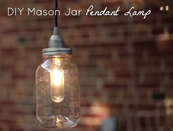Diy pendant light from a mason jar for Hanging lights made from mason jars