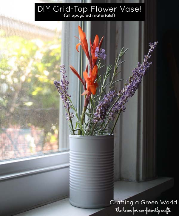 Upcycled Flower Vase with a Grid Top