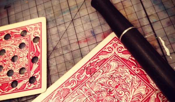 Playing Card Stencils via Bare Branch Blooming