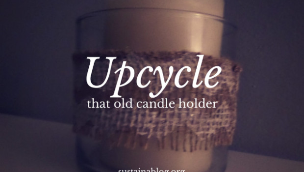 Redo an old votive holder with a little bit of burlap for cute DIY holiday decor or even a DIY wedding decoration!