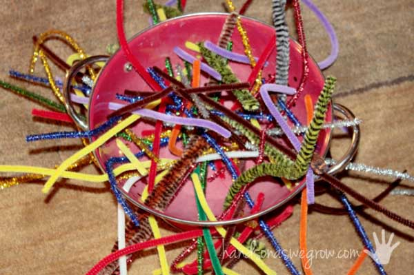 Rainy Day Activities for Toddlers: Pipe Cleaner Weaving