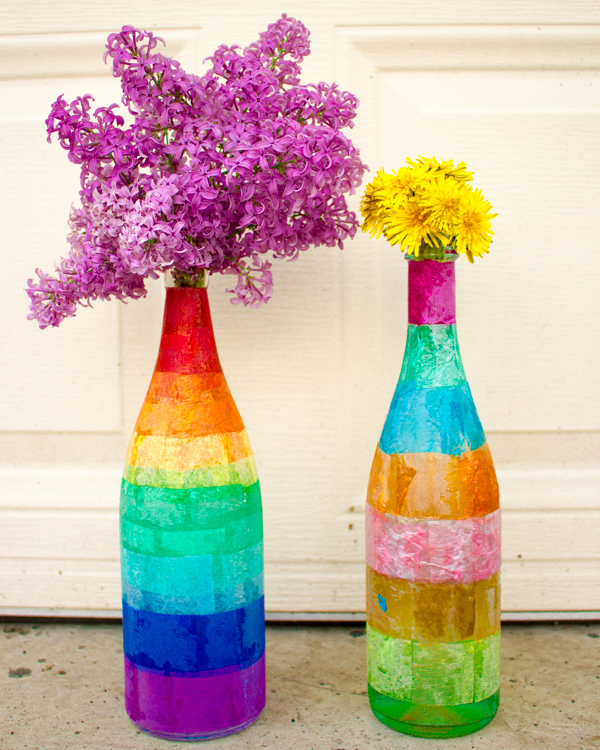 Make Tissue Paper Decoupaged Glass Bottles Crafting A