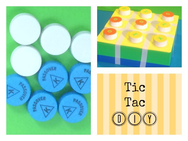 I decided to turn Tic Tac Toe into a board game. The game pieces will  be made of water bottle tops and the board will be made from the top of a small box. Trust me, the kids might have as much fun putting this thing together as they do playing the game itself!