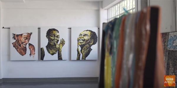 Artist Mbongeni Buthelezi uses melted plastic to create beautiful works of art.