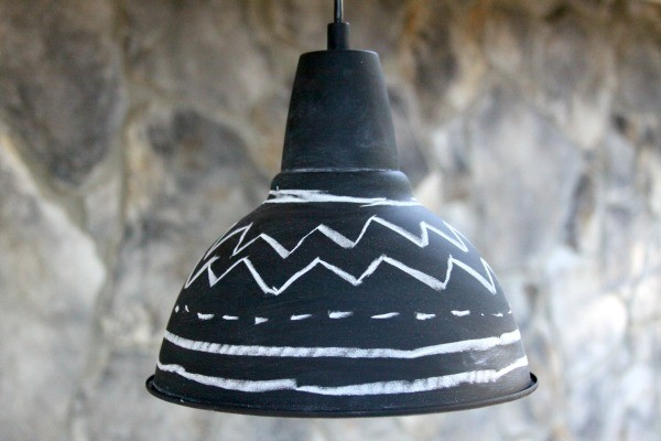 Do you have a boring light fixture that you would like to revamp? Turn it into a modern chalkboard light fixture!