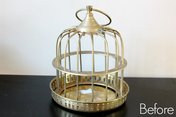Turn a thrifted old birdcage into a fresh piece of modern birdcage decor!
