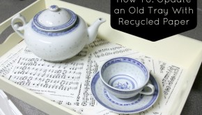 This DIY serving tray makeover is simple to do, and you have as many options as you do paper in your stash.
