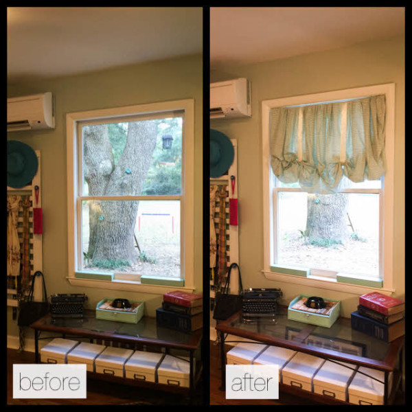 Turn an old fitted sheet into cute, DIY Balloon curtains. No sewing required!