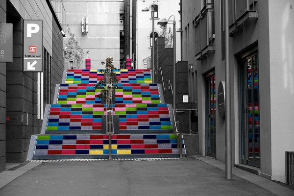 Knit graffiti in Sussex Lane by Magda Sayeg, between Sussex St and Kent St and parallel with Erskine St.