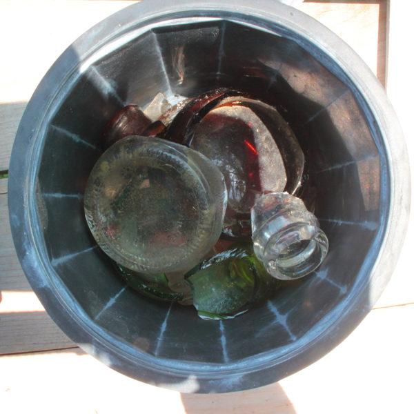 sea glass in a rock tumbler