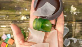 sea glass in a rock tumbler