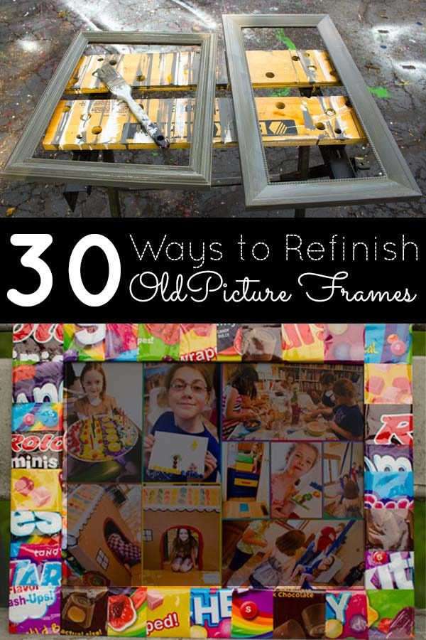 Instead of buying new, hit the thrift for secondhand frames to display your art. Here are 30 awesome ways to refinish picture frames.