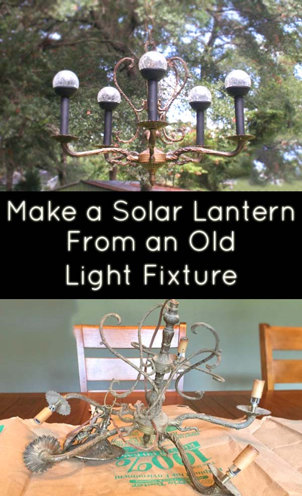 Turn an old chandelier into a modern light fixture. Here's how to make a solar lantern out of a thrifted or found chandelier.
