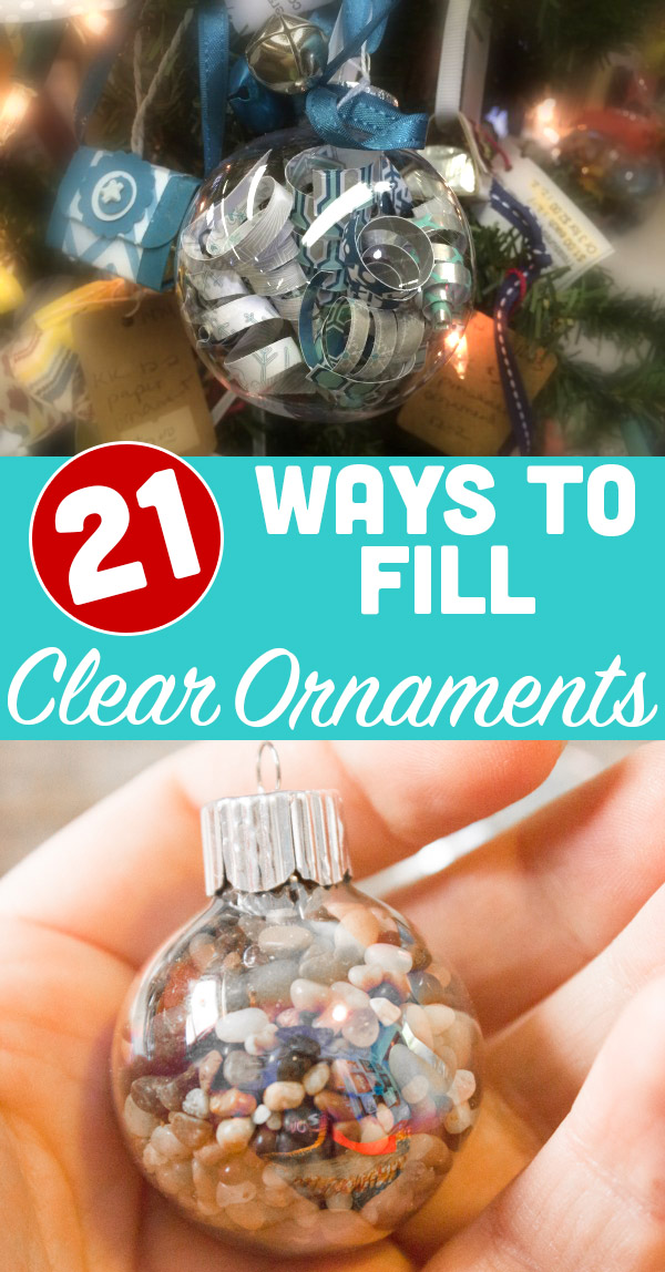 These are some of my favorite ways to fill clear ornaments with recycled and found objects.