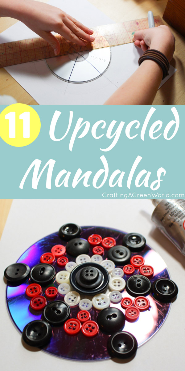 CDs, DVDs, and old vinyl records are a great base for constructing upcycled mandalas on top of, because they're perfectly round and sturdy,