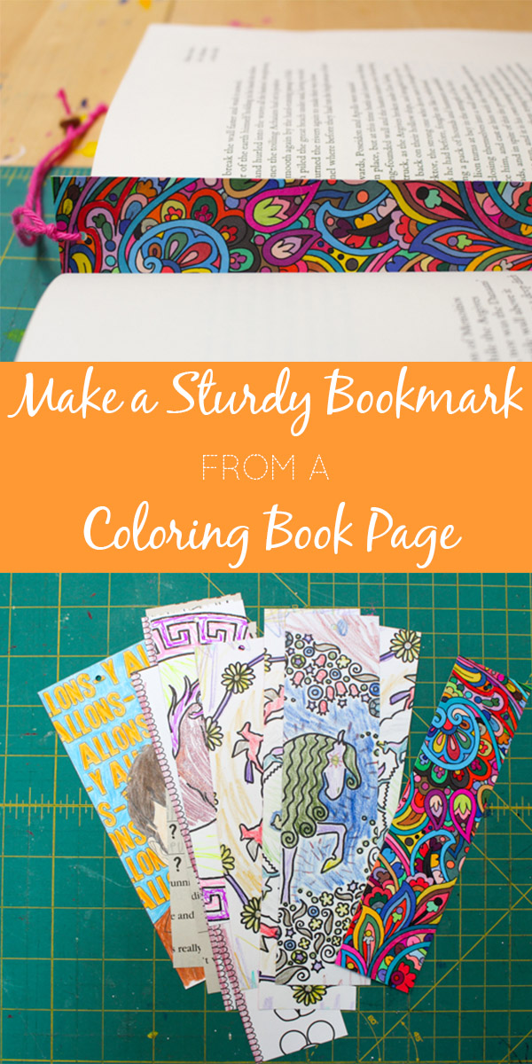 Need another idea for how to upcycle a coloring book page? Here's how to turn it into a sturdy bookmark, the easy way!