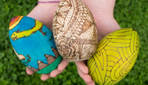Wood Burned and Stained Easter Eggs