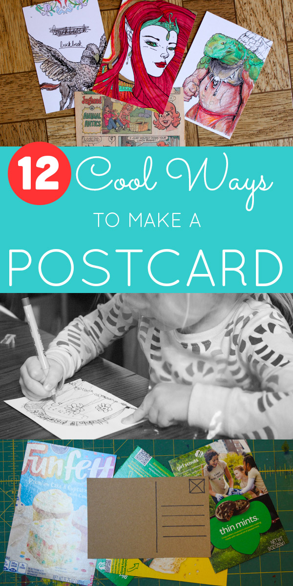 Mail the love, Friends! Whether it's a piece of original art or an upcycled cupcake box, homemade postcards are a great way to let your loved ones know that you're thinking of them.