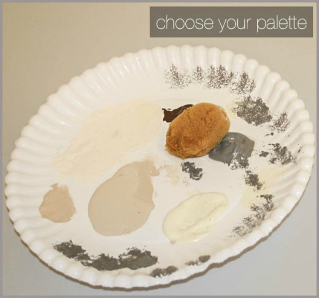 This is the color palette I used to give laminate countertops a stone look.