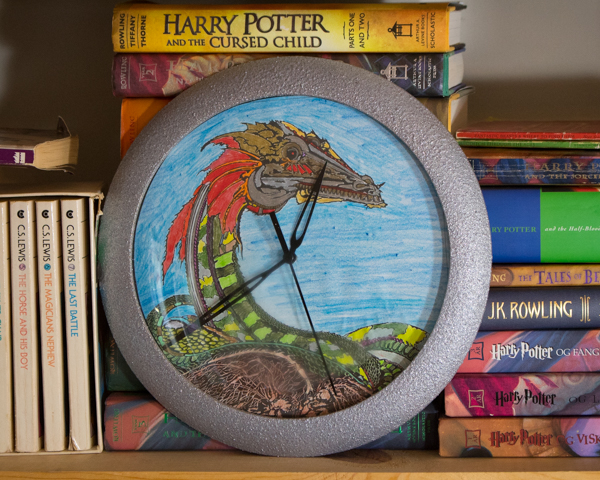 Refinished Clock with a Coloring Page